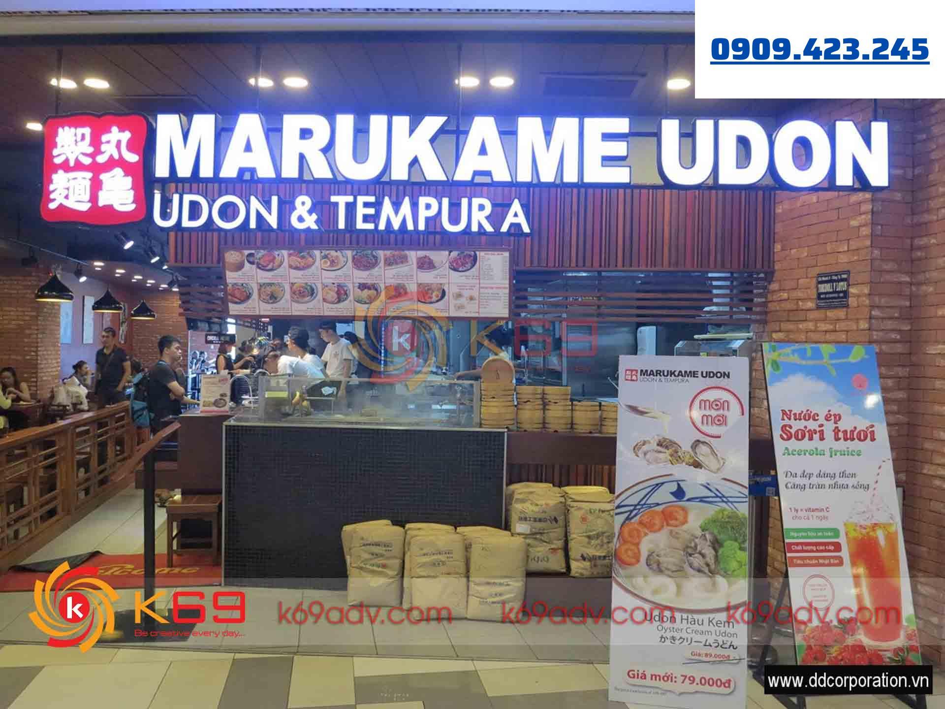 Làm bảng hiệu nhà Hàng Udon Quận 7 tại K69adv