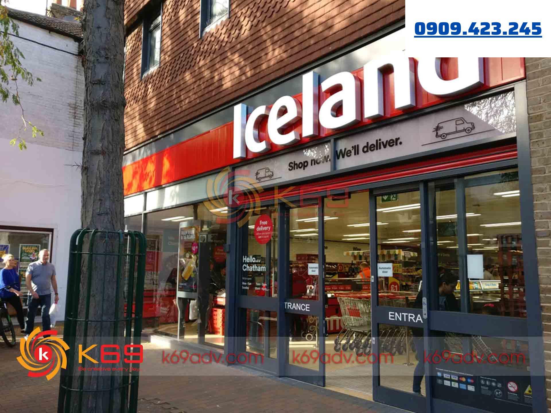 Làm bảng hiệu tại quận 7 Iceland tại K69adv
