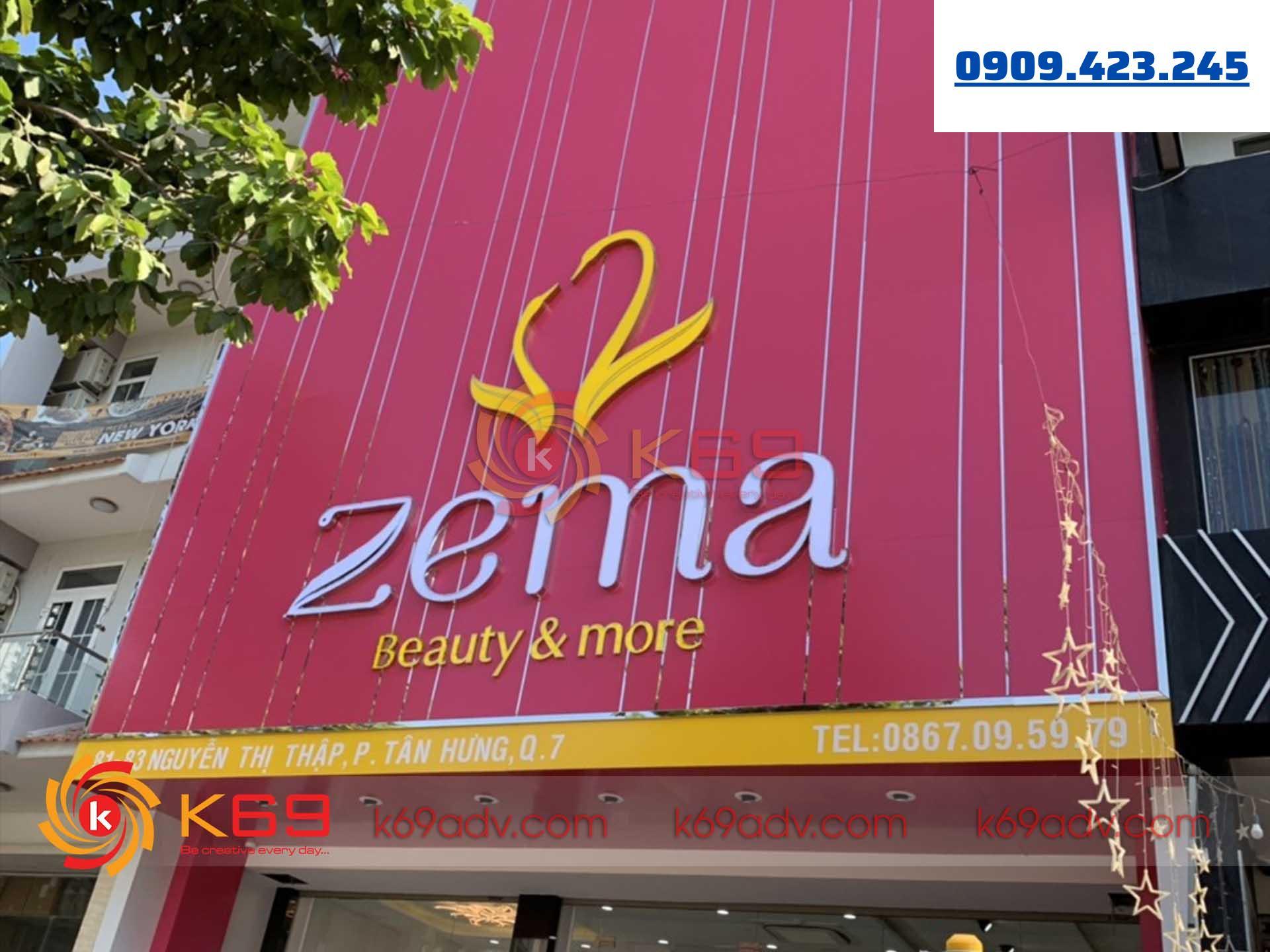 Làm bảng hiệu tại quận 7 shop zema do k69adv thực hiện