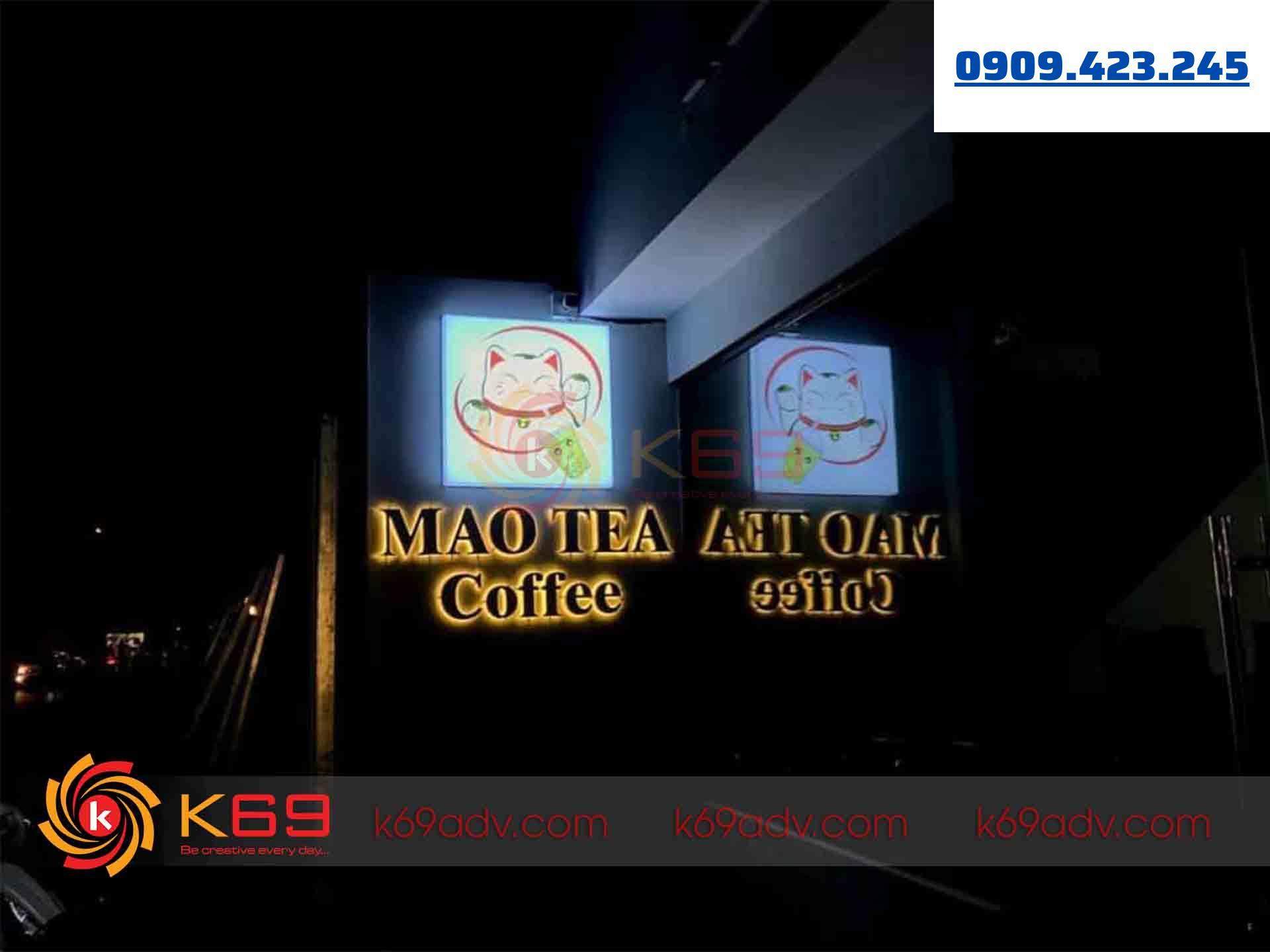 Công trình thi công làm bảng hiệu hộp đèn quán caffe tại K69ADV