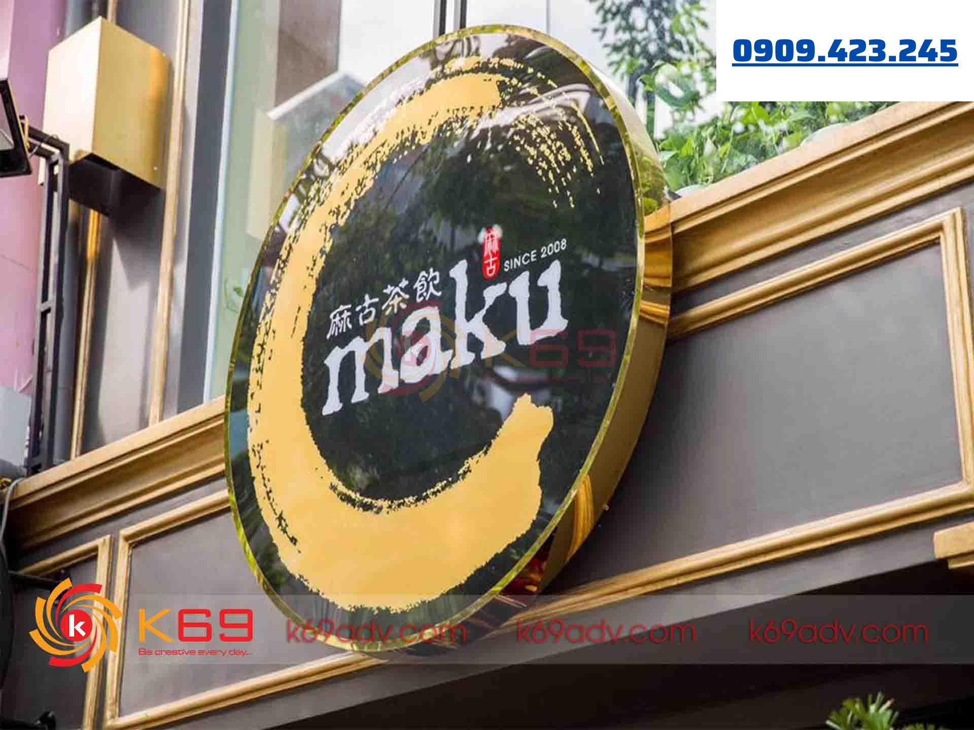 Mẫu bảng hiệu quảng cáo hộp đèn tròn quận 12 thi công bởi K69ADV