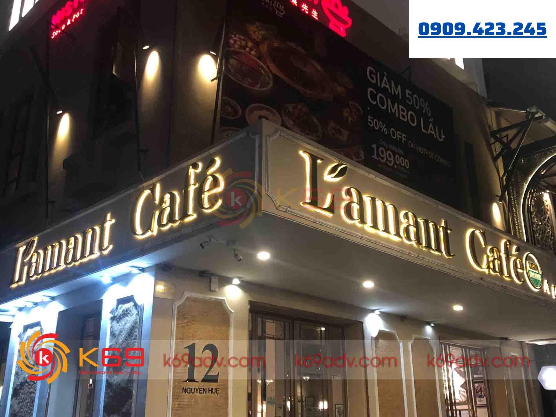 Ảnh thi công làm bảng hiệu chữ nổi Inox có đèn cho quán cafe tại K69ADV