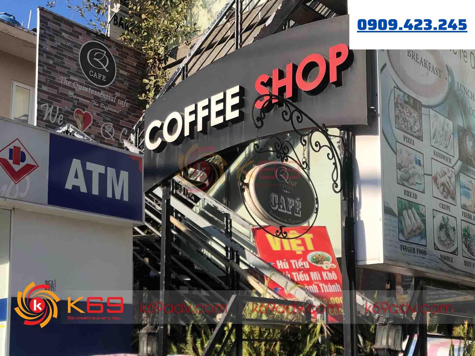 Mẫu bảng hiệu chữ nổi quán cafe tại quận tân bình do K69ADV thi công