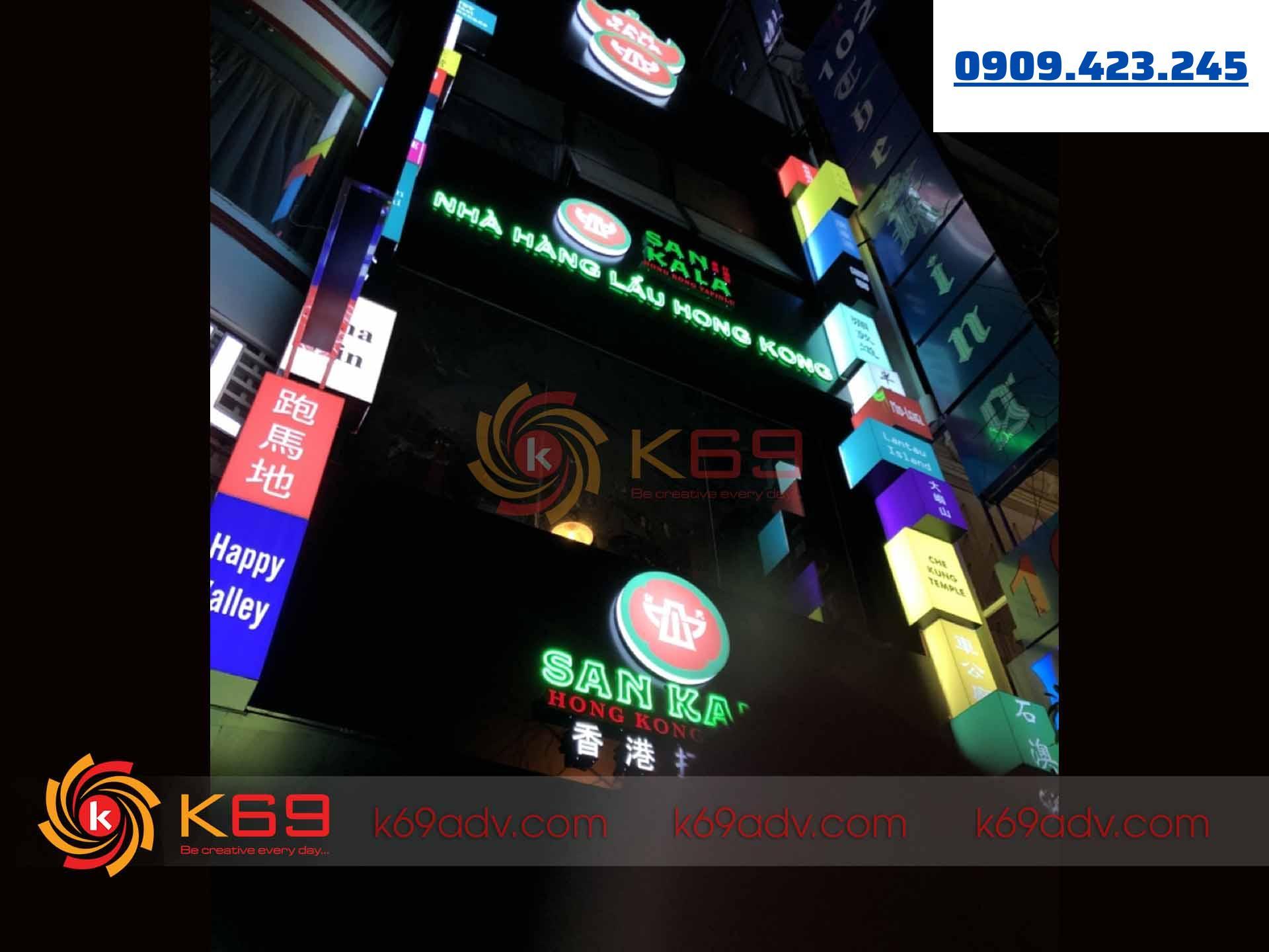 Làm bảng hiệu quảng cáo nhà hàng Sankala tại k69adv