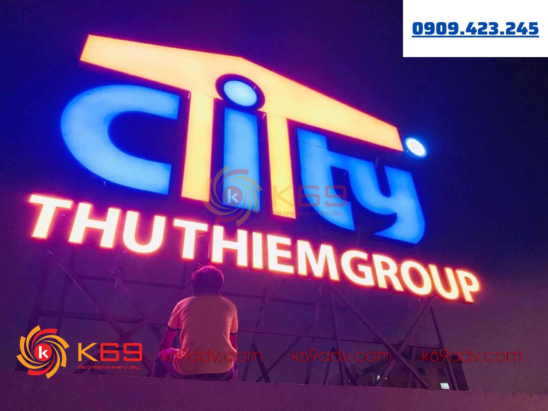 Làm bảng hiệu quảng cáo tòa nhà thủ thiêm group tại k69adv