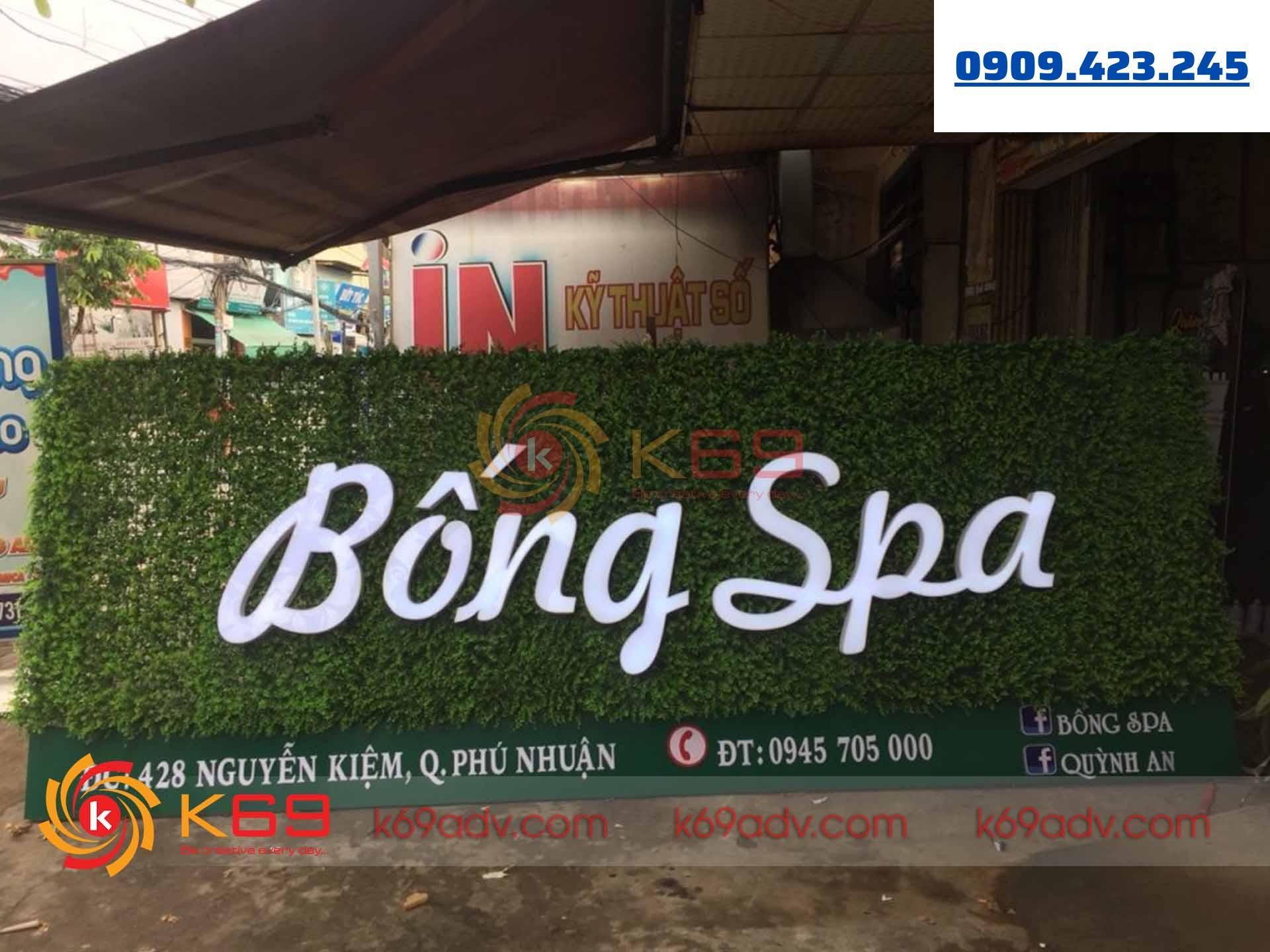 Làm bảng hiệu tại quận Phú Nhuận cho Bống Spa