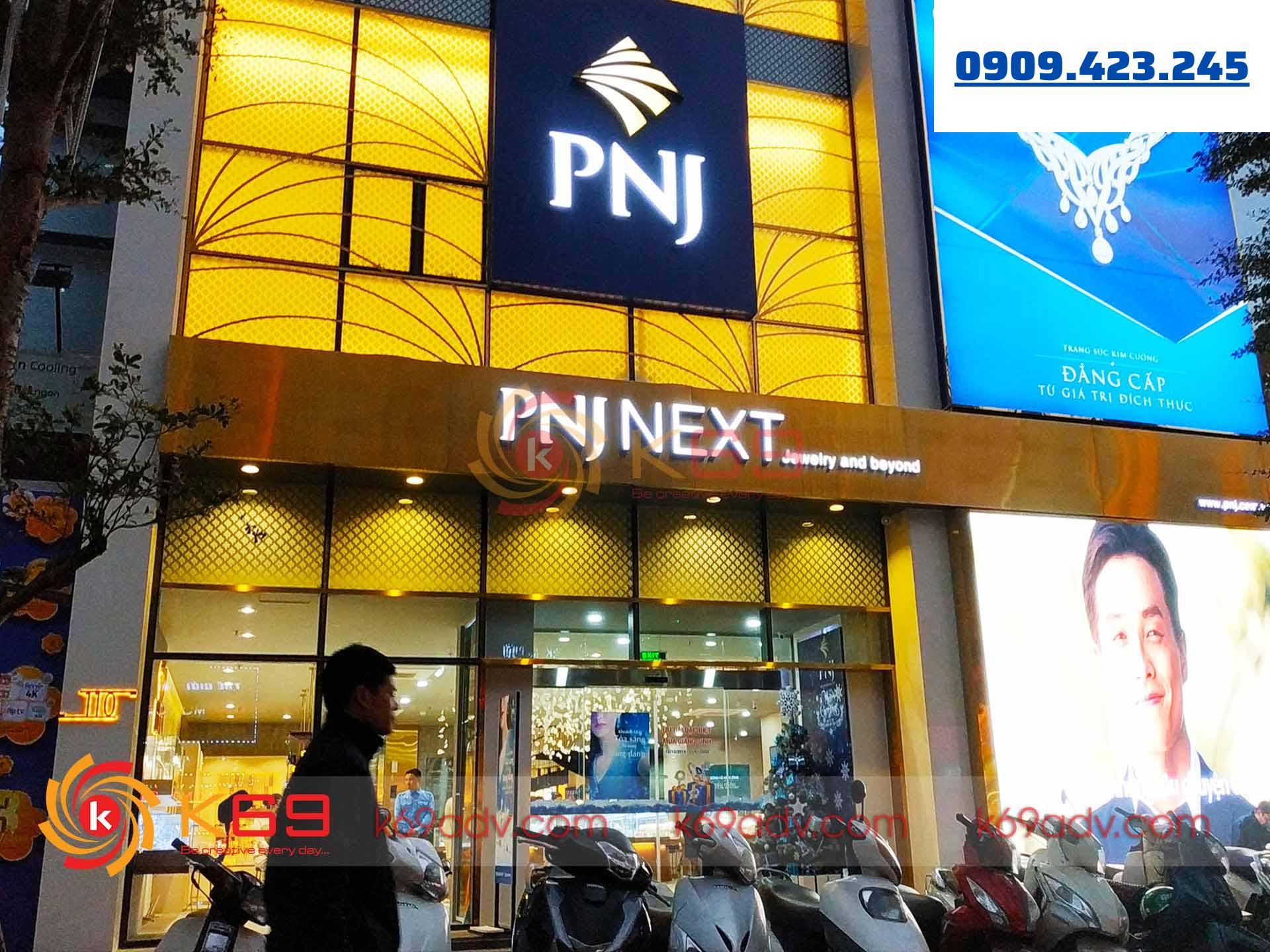 Làm bảng hiệu tại quận Phú Nhuận cho trung tâm trang sức cao cấp PNJ do K69adv thi công
