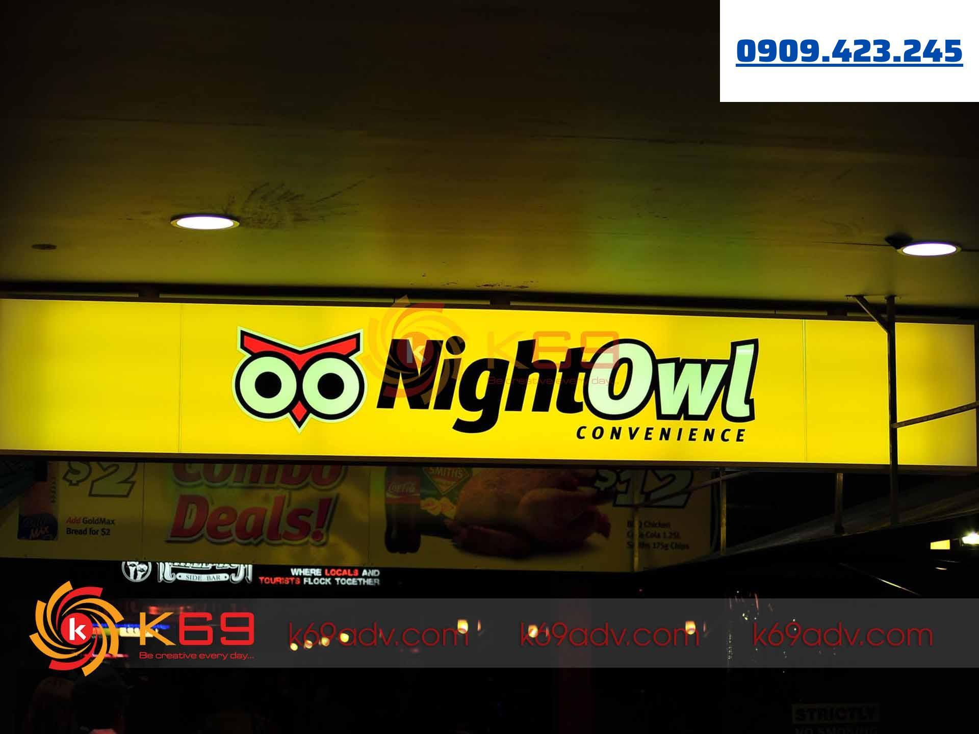 Làm bảng hiệu tại quận Phú Nhuận hộp đèn Nightowl do K69adv thi công