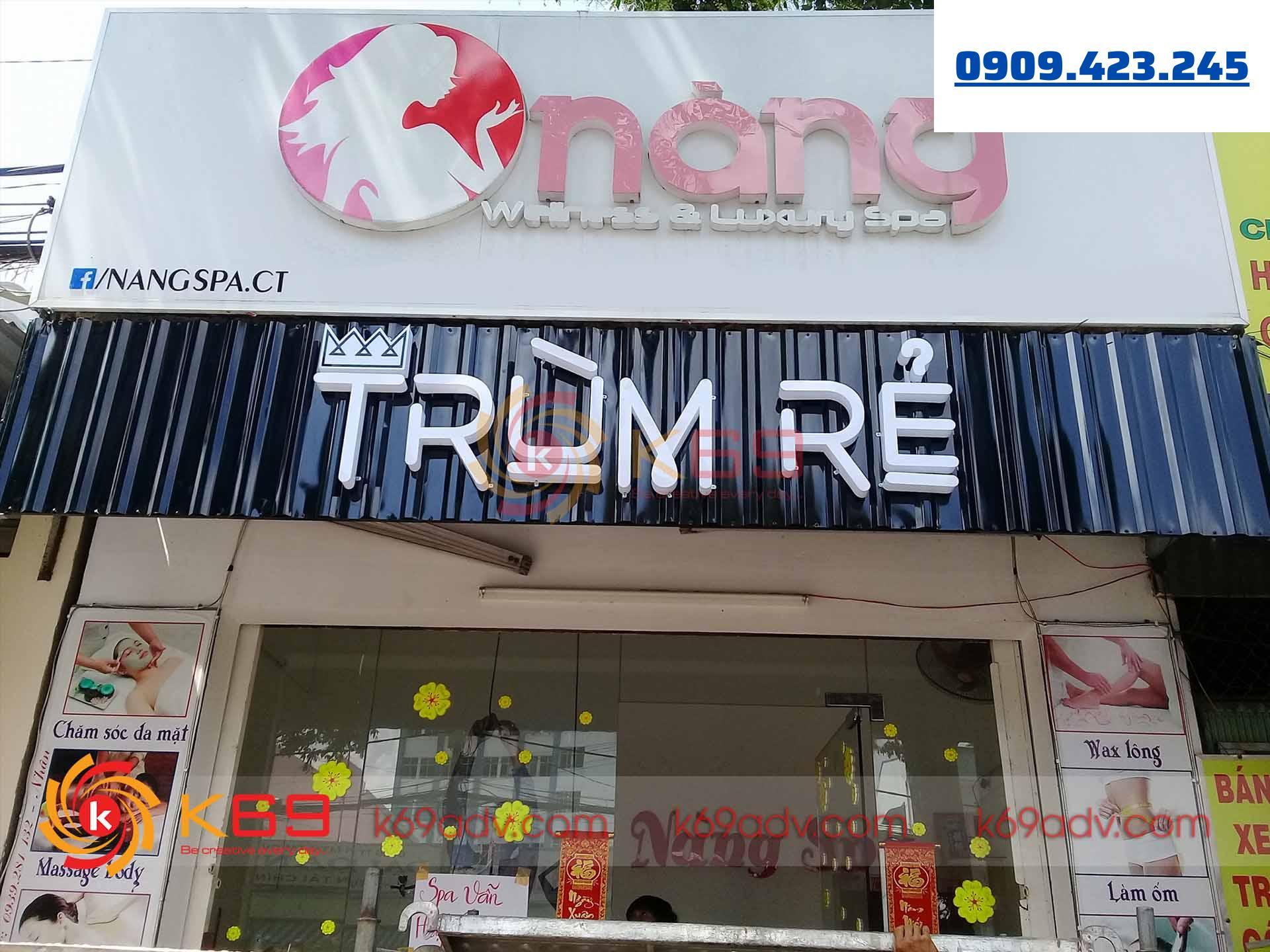 Làm bảng hiệu tại quận Phú Nhuận Nắng Spa do K69adv thi công