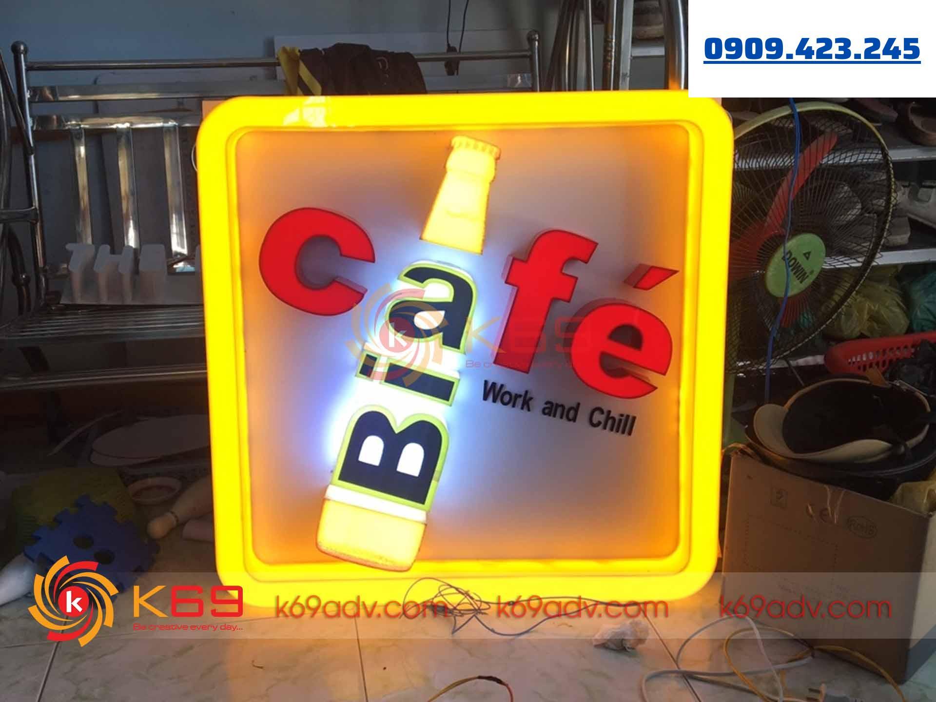 Làm bảng hiệu Phú Nhuận Quán Cafe Bia do K69adv thi công
