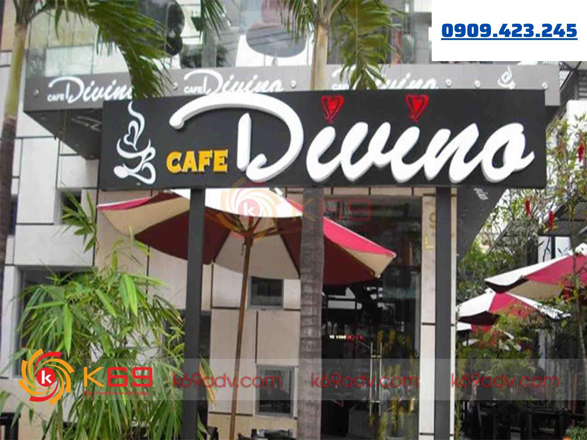 Mẫu bảng hiệu cafe đẹp chữ nổi tại K69ADV