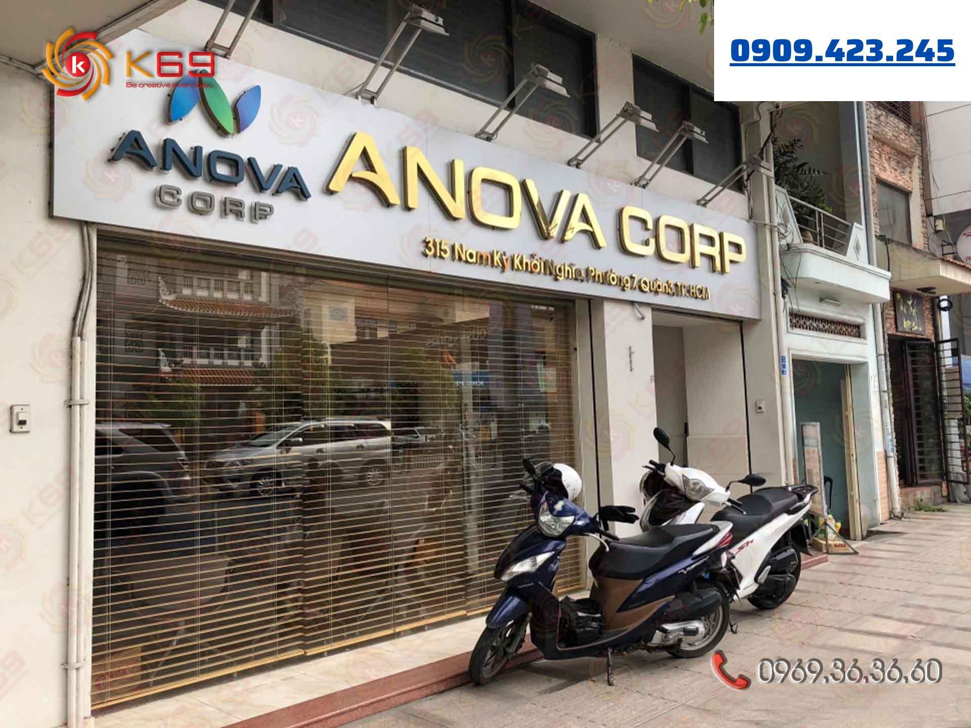 Mẫu bảng hiệu công ty bds ANOVA đẹp tại K69adv