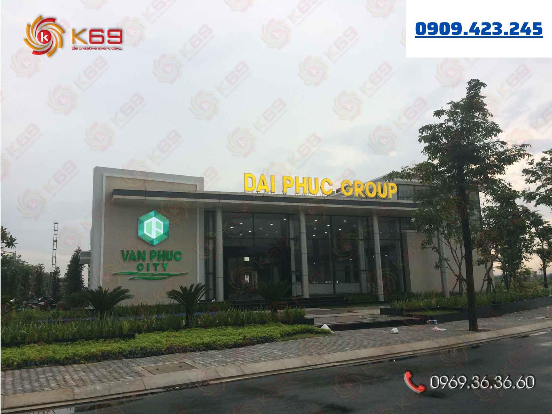 Mẫu bảng hiệu công ty bds Vạn Phuc đẹp tại K69adv