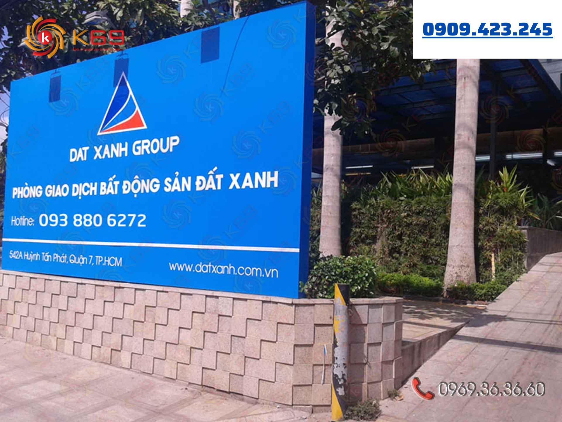 Mẫu bảng hiệu công ty đất xanh Group đẹp tại K69adv