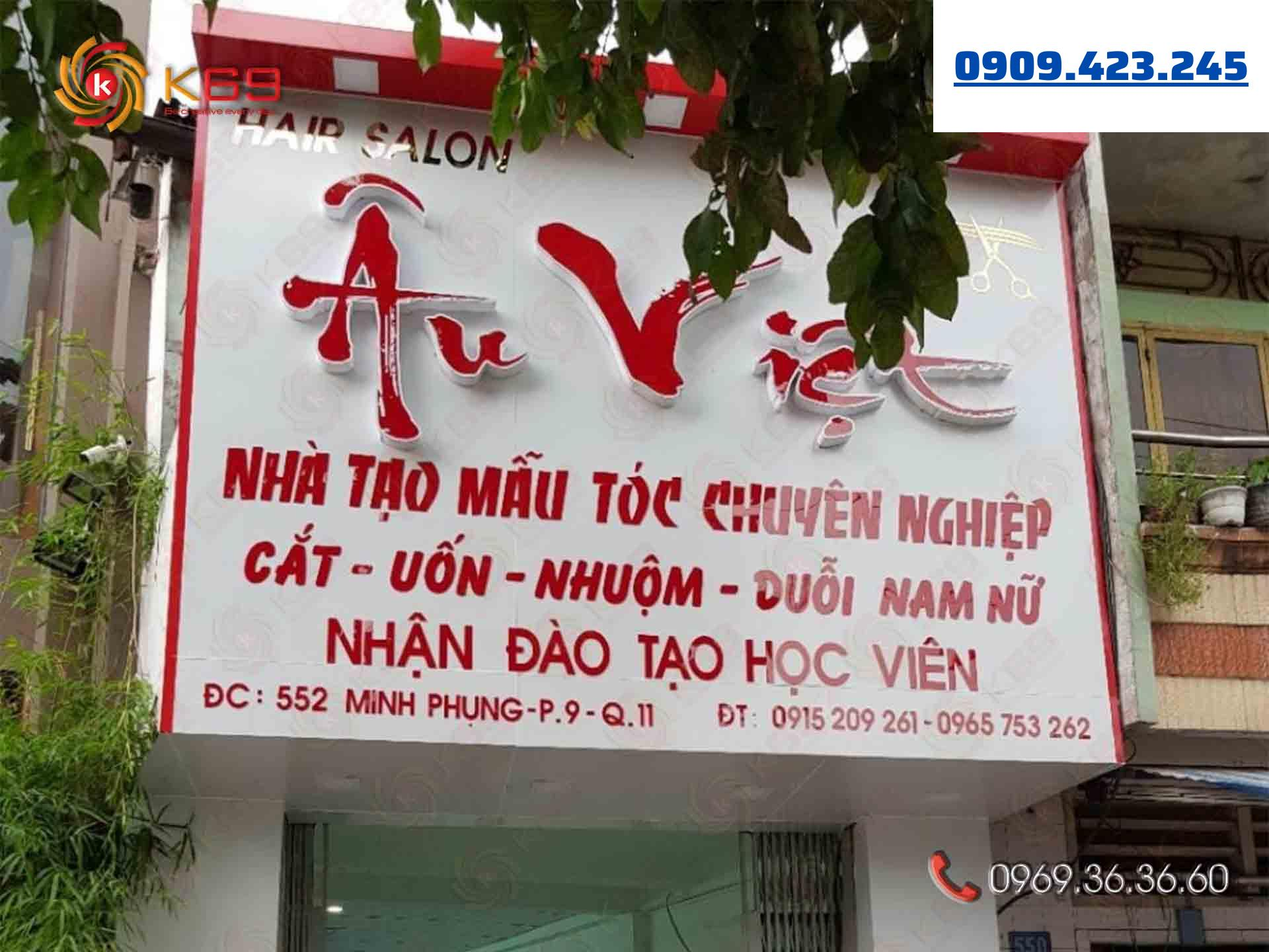 Mẫu bảng hiệu Hair Salon Âu Việt đẹp tại K69adv