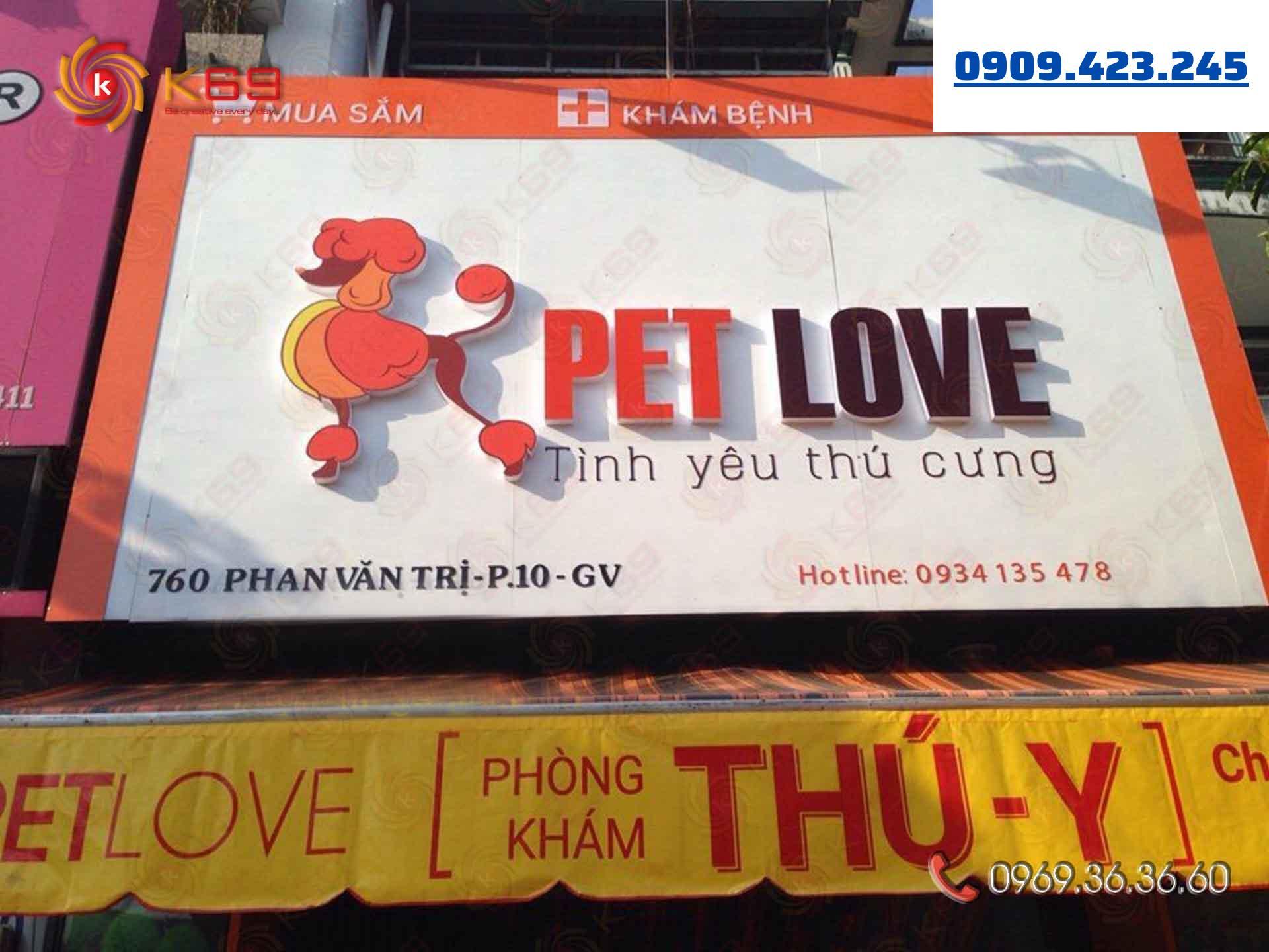 Mẫu bảng hiệu Pet love đẹp tại K69adv