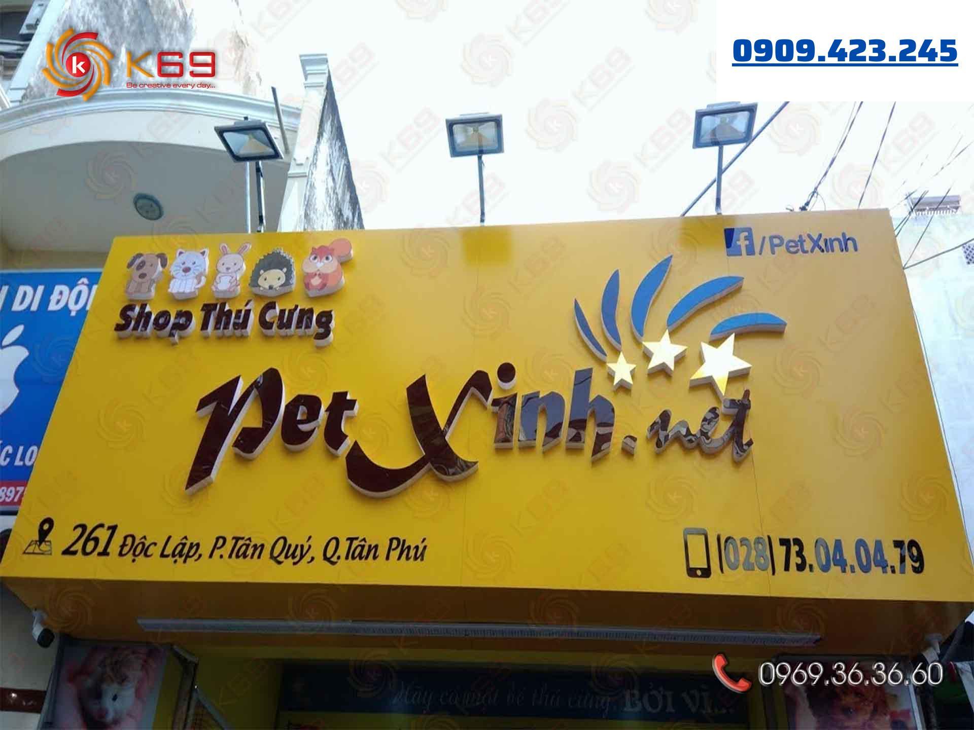 Mẫu bảng hiệu shop thú cưng Pet Xinh đẹp tại K69adv
