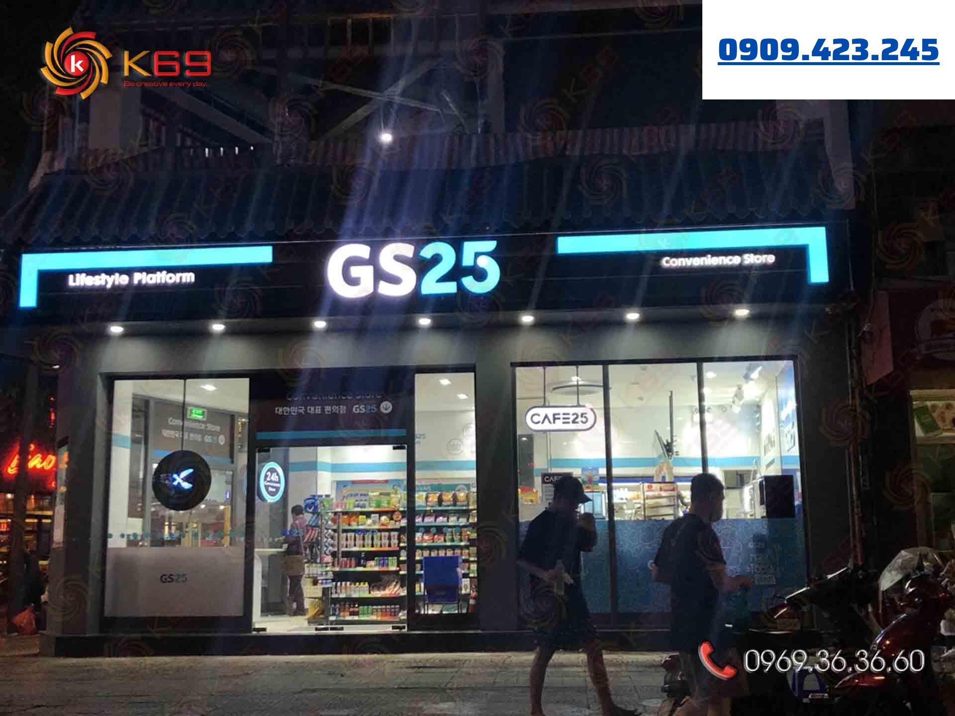 Mẫu bảng hiệu siêu thị GS25 đẹp tại K69adv