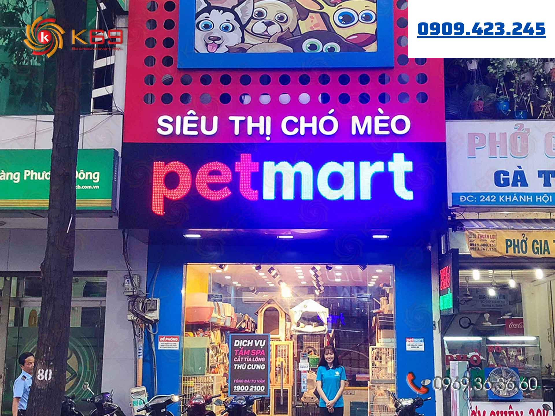 Mẫu bảng hiệu siêu thị chó mèo đẹp tại K69adv
