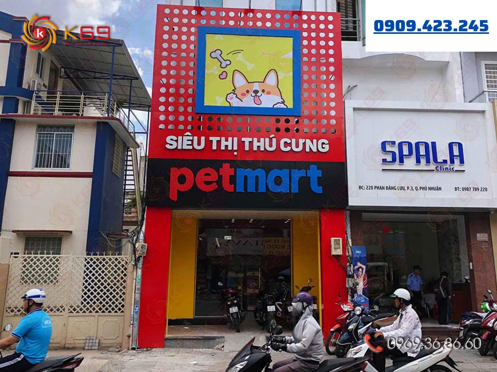Mẫu bảng hiệu siêu thị thú cưng đẹp tại K69adv