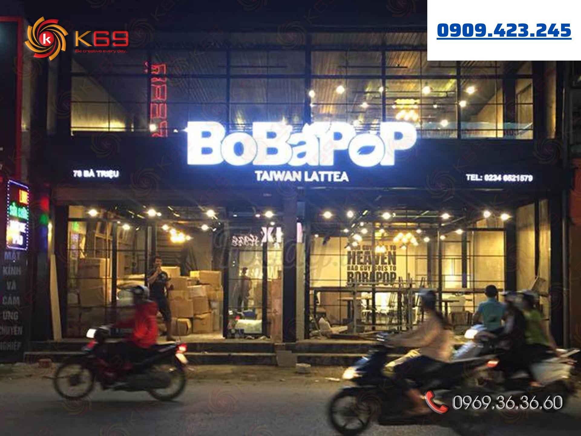 Mẫu bảng hiệu trà sữa BoBaPop đẹp tại K69adv