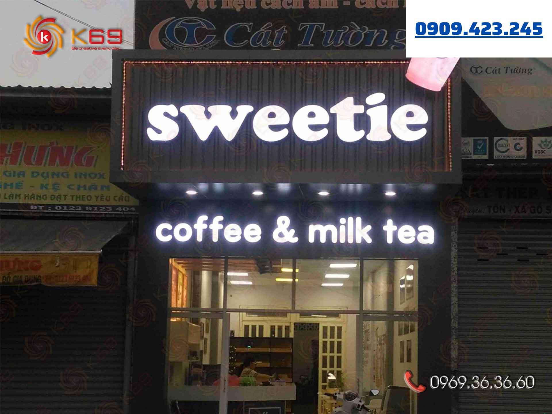 Mẫu bảng hiệu trà sữa Sweetie đẹp tại K69adv